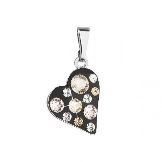 Přívěsek bižuterie se Swarovski krystaly zlaté srdce 54027.3
