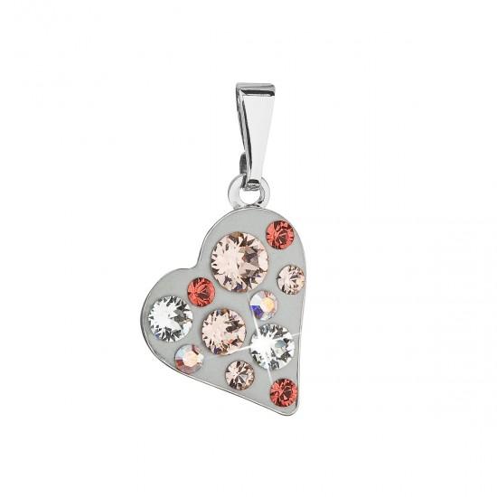 Přívěsek bižuterie se Swarovski krystaly hnědé srdce 54027.3