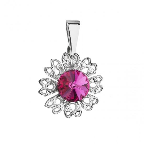 Přívěsek bižuterie se Swarovski krystaly růžová kytička 54032.3 fuchsia