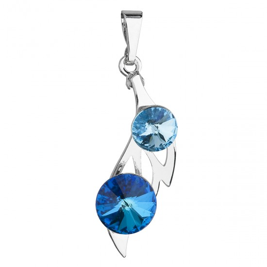 Přívěsek bižuterie se Swarovski krystaly modrý podlouhlý 54038.3