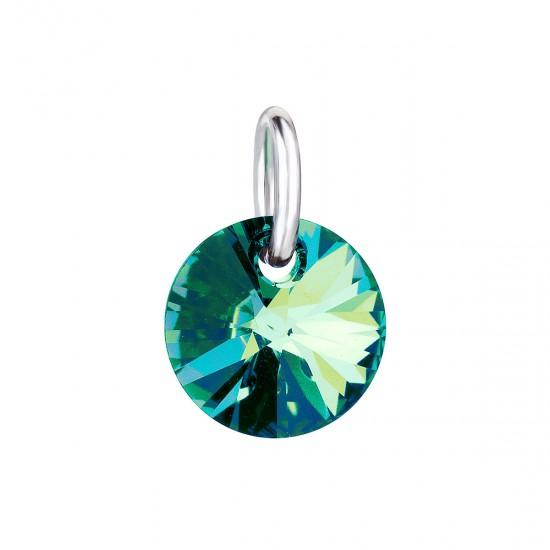 Přívěsek bižuterie se Swarovski krystaly zelený kulatý 54040.5