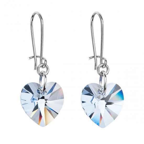 Náušnice bižuterie se Swarovski krystaly modrá srdce 56001.3 aqua