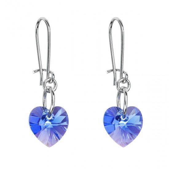 Náušnice bižuterie se Swarovski krystaly modrá srdce 56006.3 sapphire