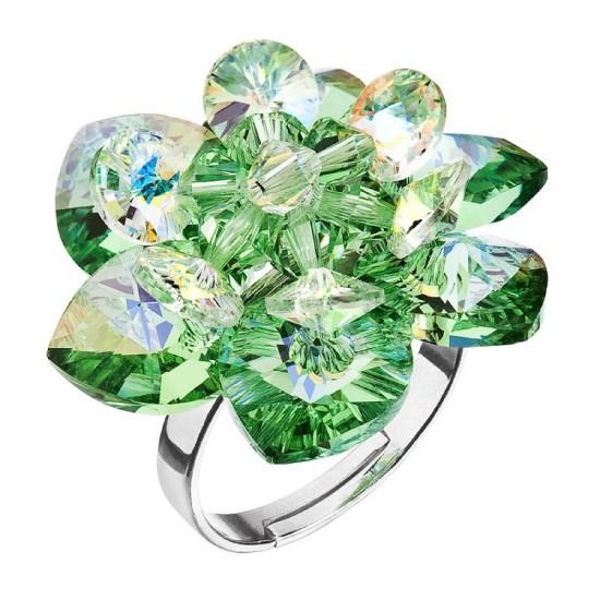 Stříbrný prsten s krystaly Swarovski zelená kytička 75001.3