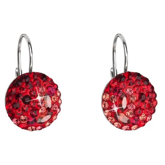 Stříbrné náušnice visací s krystaly Swarovski červené kulaté 71013.3