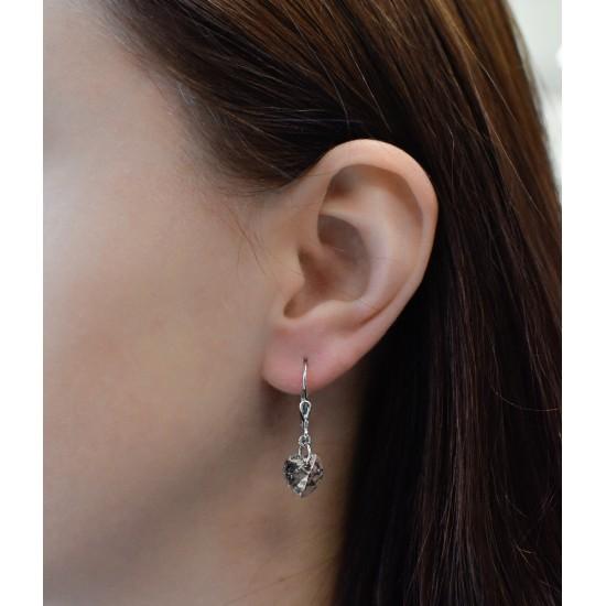 Stříbrné náušnice visací s krystaly Swarovski růžové srdce 71016.5