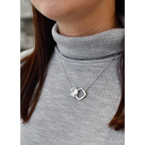 Stříbrný náhrdelník s krystaly Swarovski bílý 72014.1