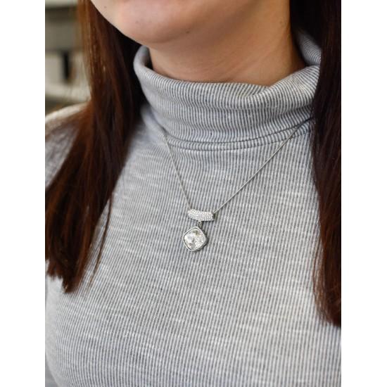 Stříbrný přívěsek s krystaly Swarovski bílý 74033.1