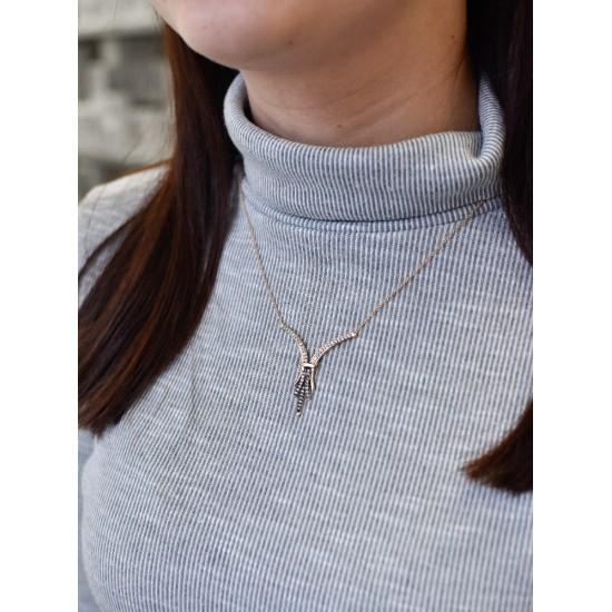 Stříbrný náhrdelník modrý 72040