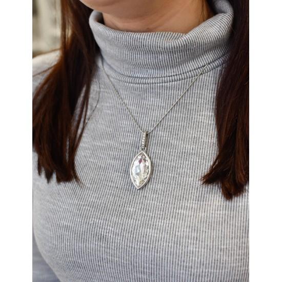 Stříbrný přívěsek s krystaly Swarovski bílá slza 74039.1