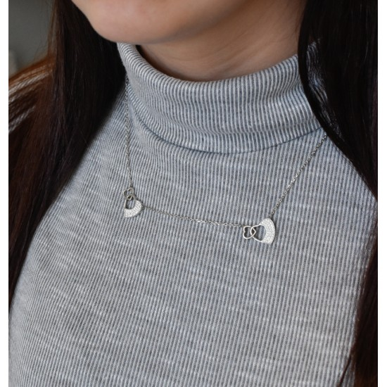 Stříbrný náhrdelník s krystaly Swarovski srdce 72047.1