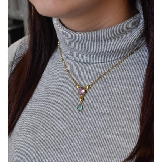 Stříbrný náhrdelník s krystaly Swarovski barevná kapka 72051.3