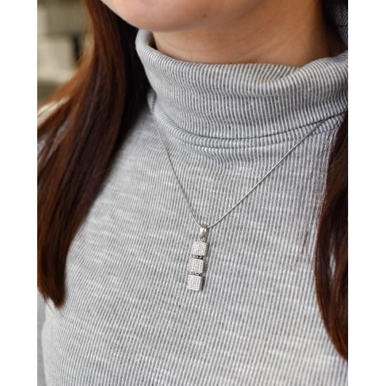 Stříbrný přívěsek s krystaly Swarovski bílé čtverce 74063.1