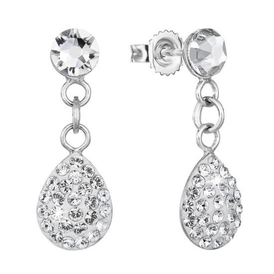 Stříbrné náušnice visací s krystaly Swarovski bílá kapka 71076.1