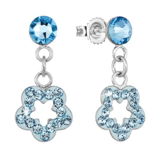 Stříbrné náušnice visací s krystaly Swarovski modrá hvězdička 71078.1