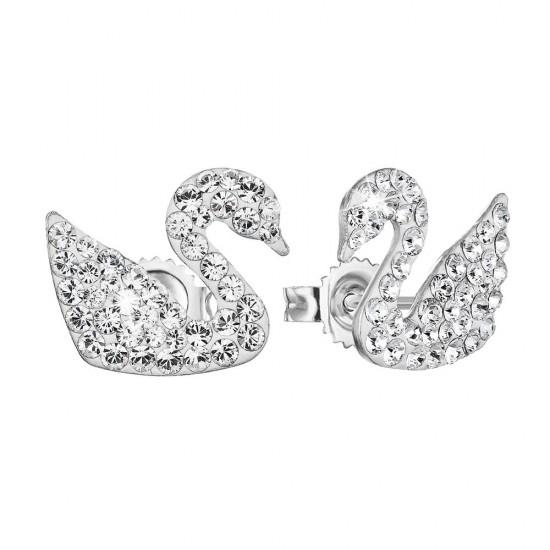 Stříbrné náušnice pecka s krystaly Swarovski bílá labuť 71079.1