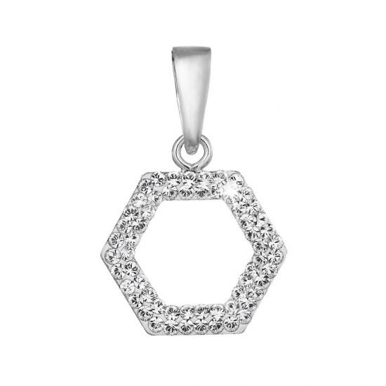 Stříbrný přívěsek s krystaly Swarovski v bílé barvě 74073.1
