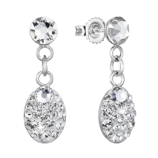 Stříbrné náušnice visací s krystaly Swarovski bílý ovál 71082.1