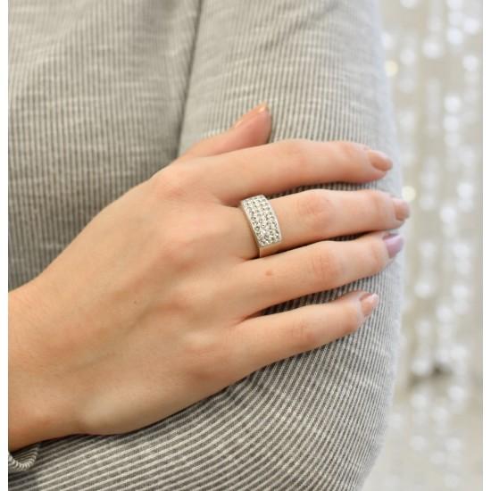 Stříbrný prsten s krystaly Swarovski bílý 75011.1