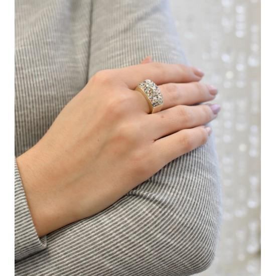 Stříbrný prsten s krystaly Swarovski mix barev zlatý 75012.3
