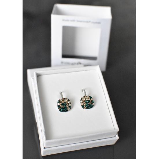 Stříbrné náušnice visací s krystaly Swarovski zelený čtverec 71094.3