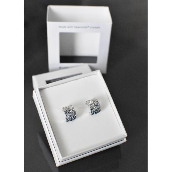 Stříbrné náušnice visací s krystaly Swarovski modrý půlkruh 731280.3 mix 1
