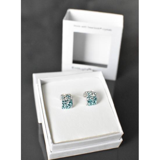 Stříbrné náušnice visací s krystaly Swarovski modrý půlkruh 731280.3 turquoise mix 1