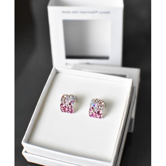 Stříbrné náušnice visací s krystaly Swarovski růžový půlkruh 731280.3