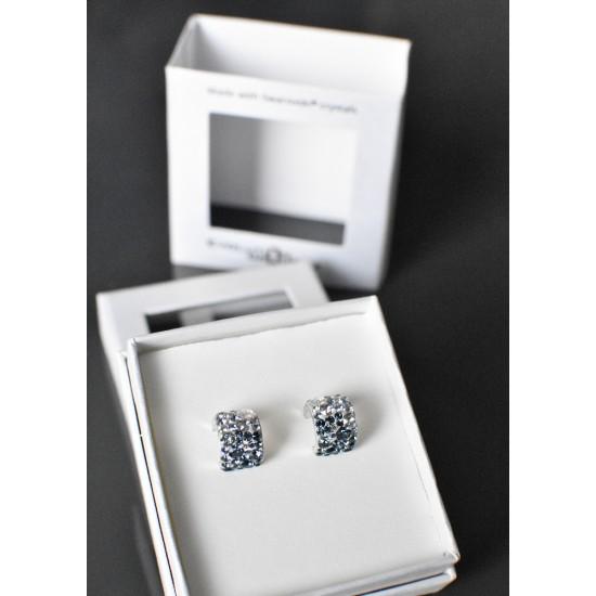 Stříbrné náušnice visací s krystaly Swarovski modrý půlkruh 731280.3 mix 2