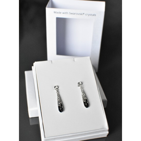 Stříbrné náušnice visací s krystaly Swarovski černo bílá slza 71095.3 mix 1