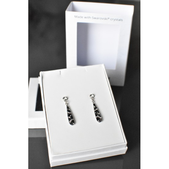 Stříbrné náušnice visací s krystaly Swarovski černo bílá slza 71095.3 mix 2