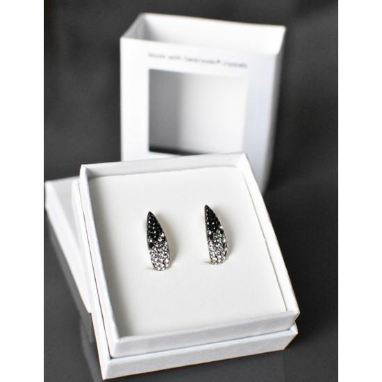 Stříbrné náušnice visací s krystaly Swarovski černo bílý půlkruh 71096.3 mix 1