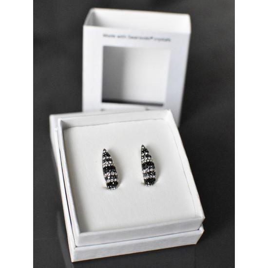 Stříbrné náušnice visací s krystaly Swarovski černo bílý půlkruh 71096.3 mix 2