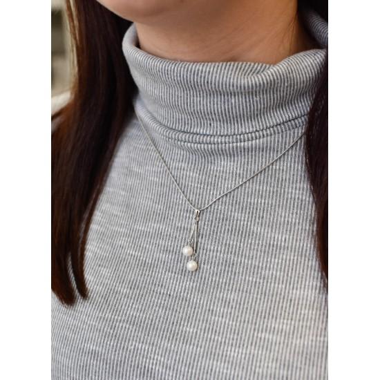 Stříbrný přívěsek s bílými perlami 74075.1