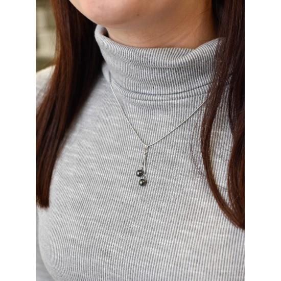 Stříbrný přívěsek s šedými perlami 74075.3
