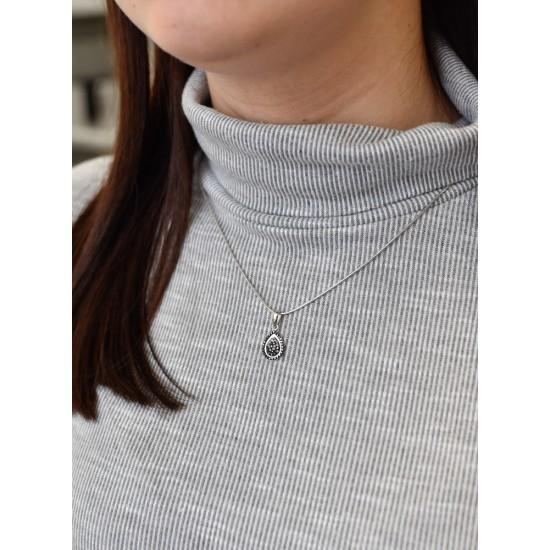 Stříbrný přívěsek s krystaly Swarovski černá kapka 74078.3