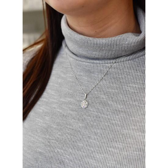 Stříbrný přívěsek s krystaly Swarovski AB efekt kulatý 74079.2