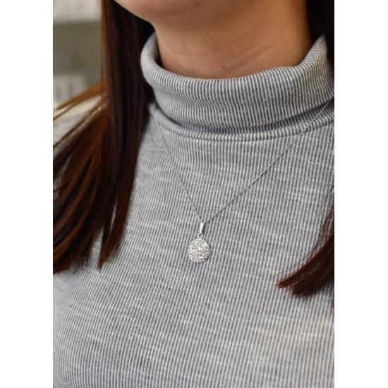Stříbrný přívěsek s krystaly Swarovski šedý kulatý 734225.3