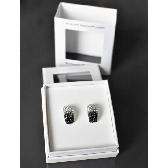Stříbrné náušnice visací s krystaly Swarovski černo bílý půlkruh 71097.3