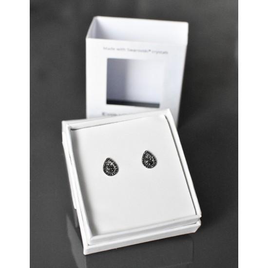 Stříbrné náušnice pecka s krystaly Swarovski černo bílá slza 71099.3