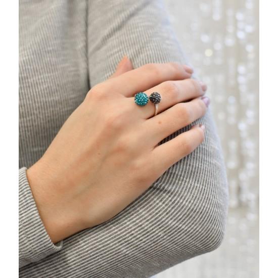 Stříbrný prsten s krystaly Swarovski mix barev 75019.3
