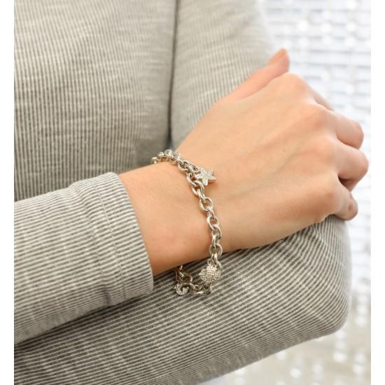 Stříbrný náramek s krystaly Swarovski a přívěsky 73032.1