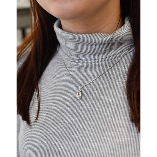 Stříbrný přívěsek s krystaly Swarovski bílý ovál 74080.1