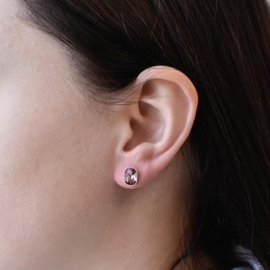 Stříbrné náušnice pecky s krystaly Swarovski růžové 71063.3