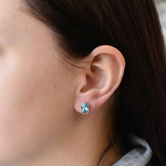 Stříbrné náušnice pecky s krystaly Swarovski modré 71063.3