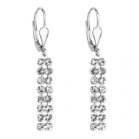 Stříbrné dlouhé náušnice visací se Swarovski krystaly 71111.1