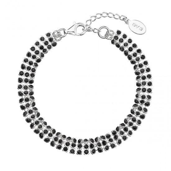 Stříbrný náramek černý se Swarovski krystaly 73033.5