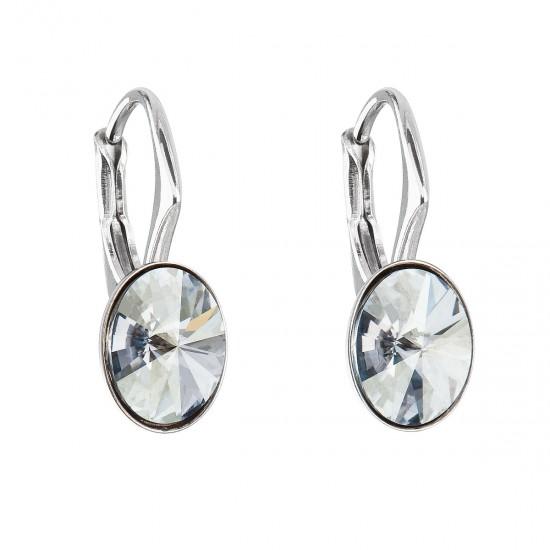 Stříbrné náušnice visací s krystaly Swarovski modrý ovál 31276.5