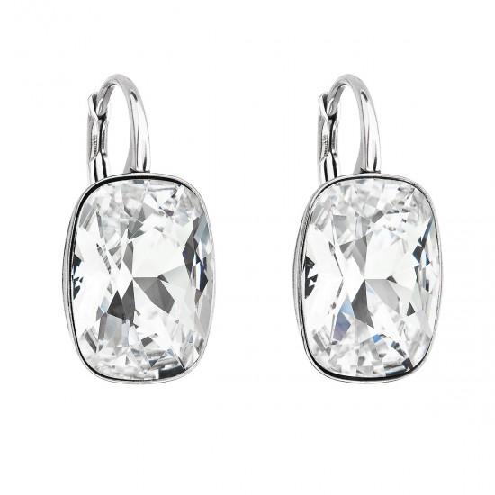 Stříbrné náušnice visací s krystaly Swarovski bílý obdélník 31277.1