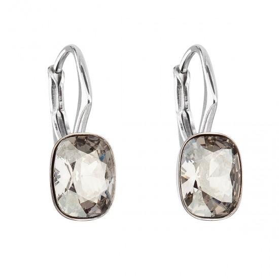 Stříbrné náušnice visací s krystaly Swarovski šedý obdélník 31278.5